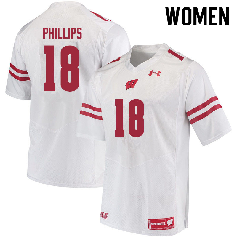 Women #18 Cam Phillips Wisconsin Badgers College Football Jerseys Sale-White